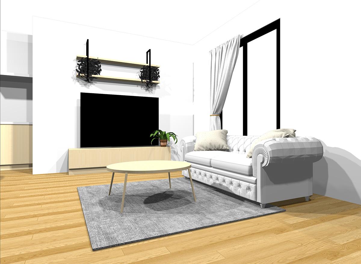 明るい家具とナチュラルブラウンの床のインテリア