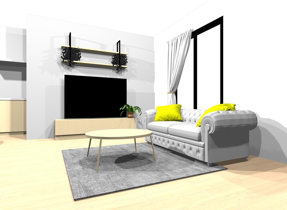 明るい茶色の床と薄いグレーのインテリア