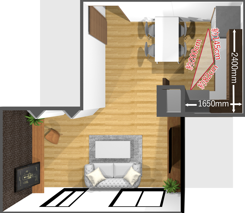壁付けL型キッチンのキッチントライアングル