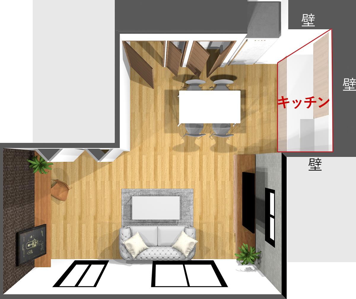 壁付けキッチンの壁の位置