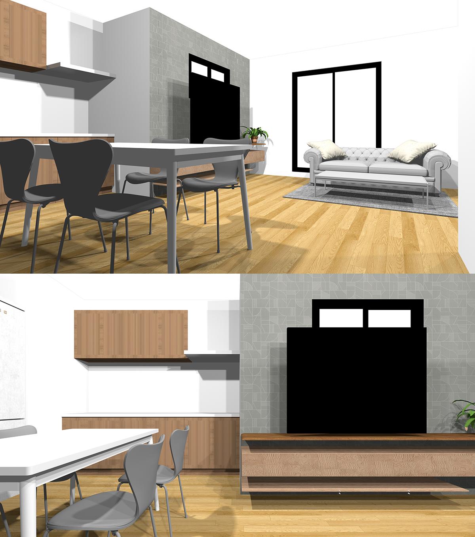 壁付けキッチンの床の見え方