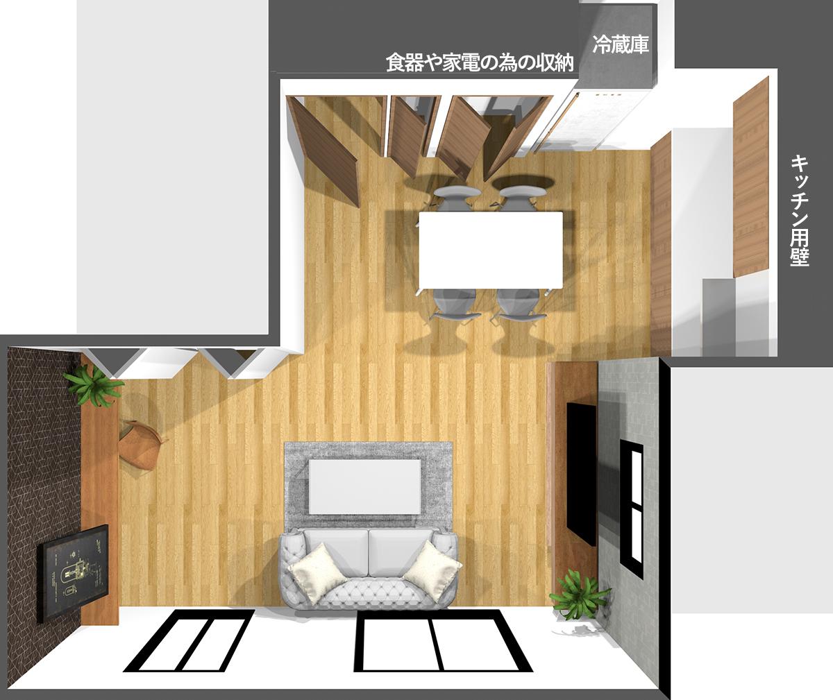 壁付けキッチンの周りに冷蔵庫や食器・家電などの収納を建具を使って作ったダイニングキッチン