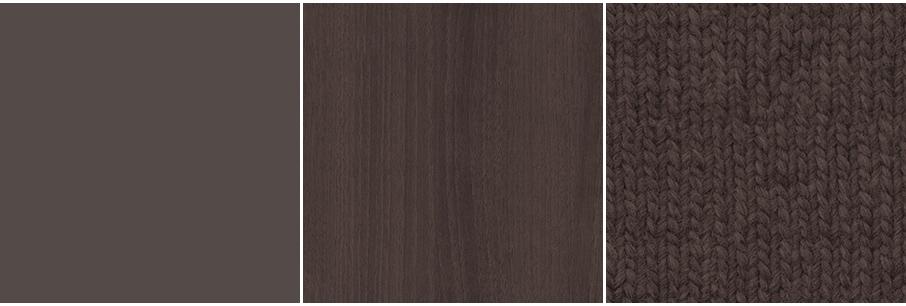 マットな灰褐色・灰褐色の木目・灰褐色のファブリック