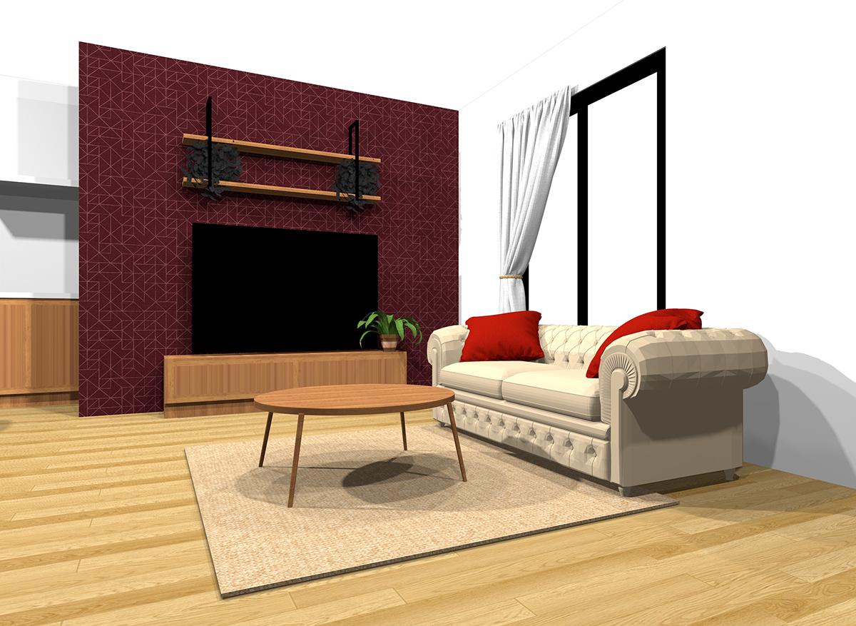 温かい雰囲気のインテリアの具体例(床・壁・天井の色を変えることができる場合)