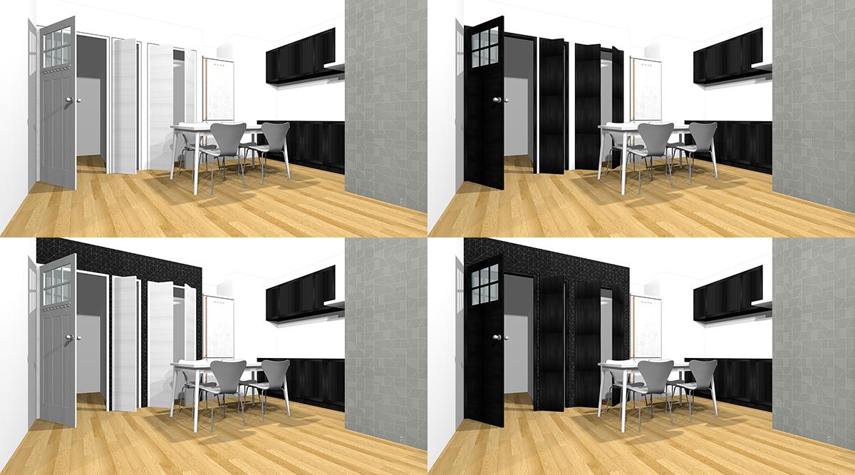 壁とドアの4パターンの組み合わせ