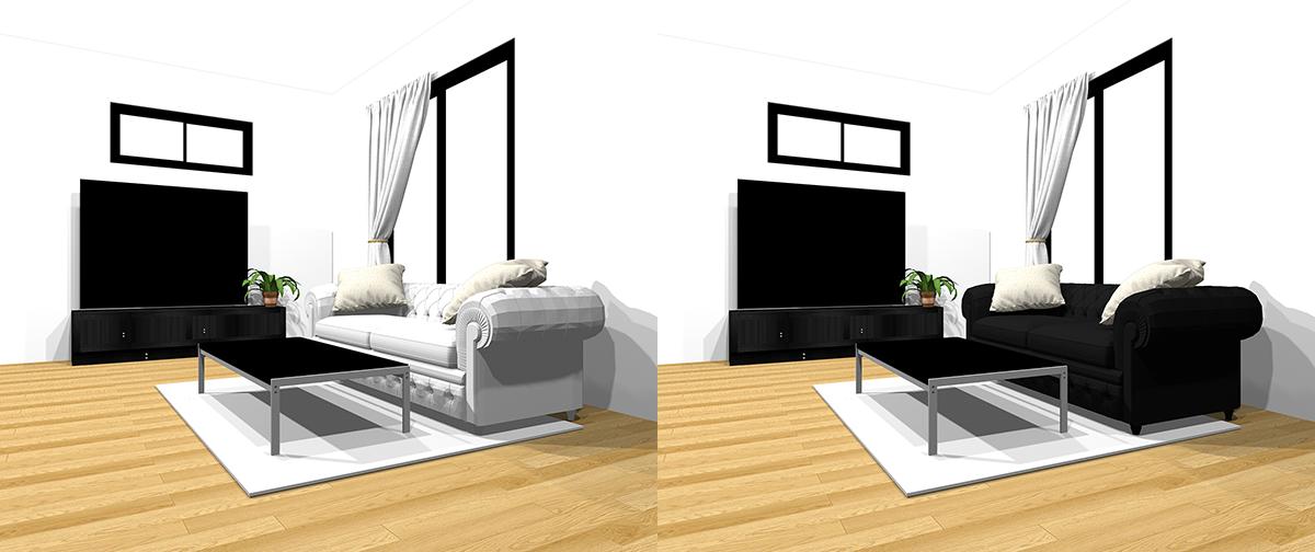 ホワイトとブラックのソファの比較