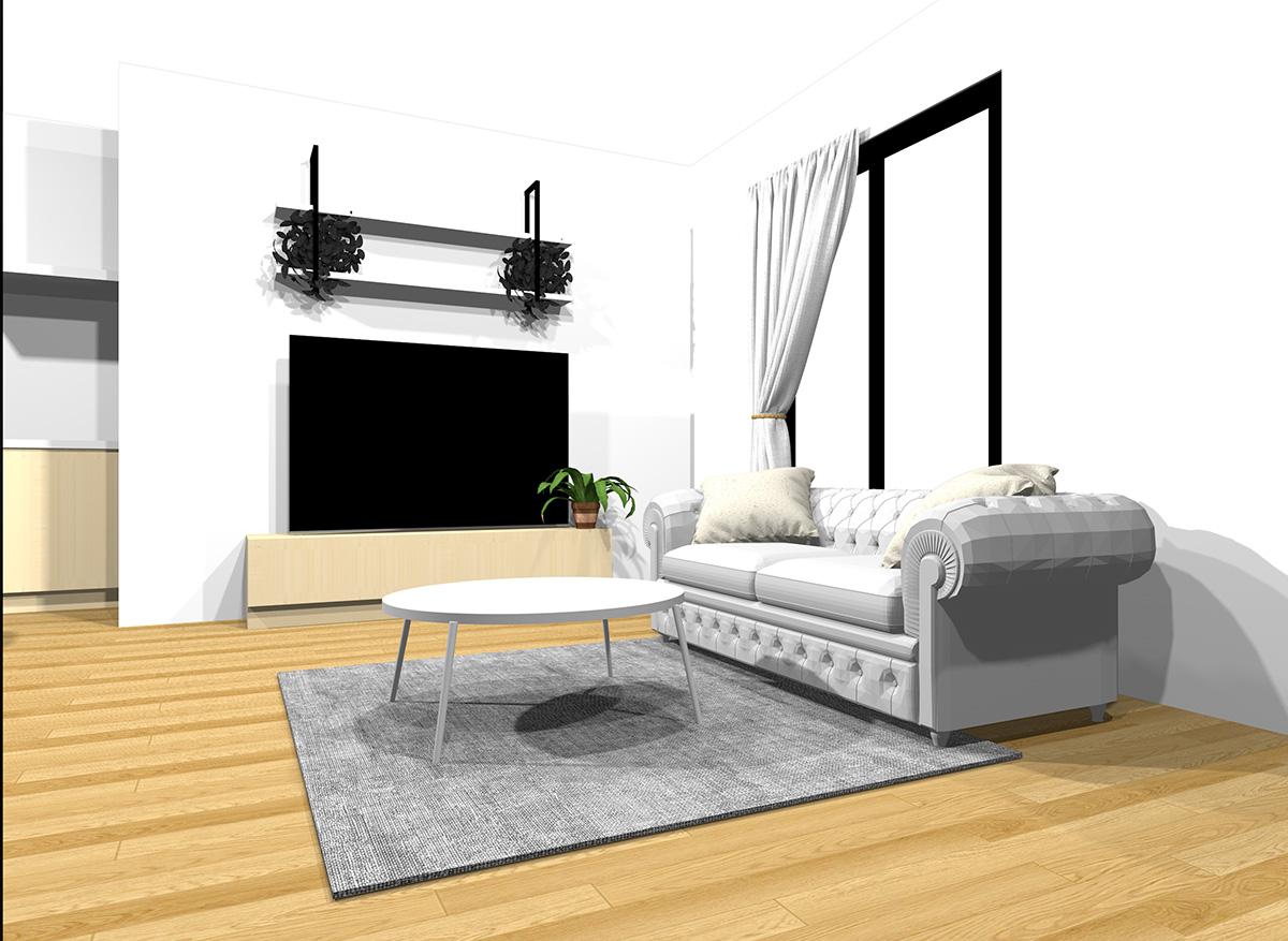 明るい家具同士をミックスしたナチュラルブラウンの床のインテリア