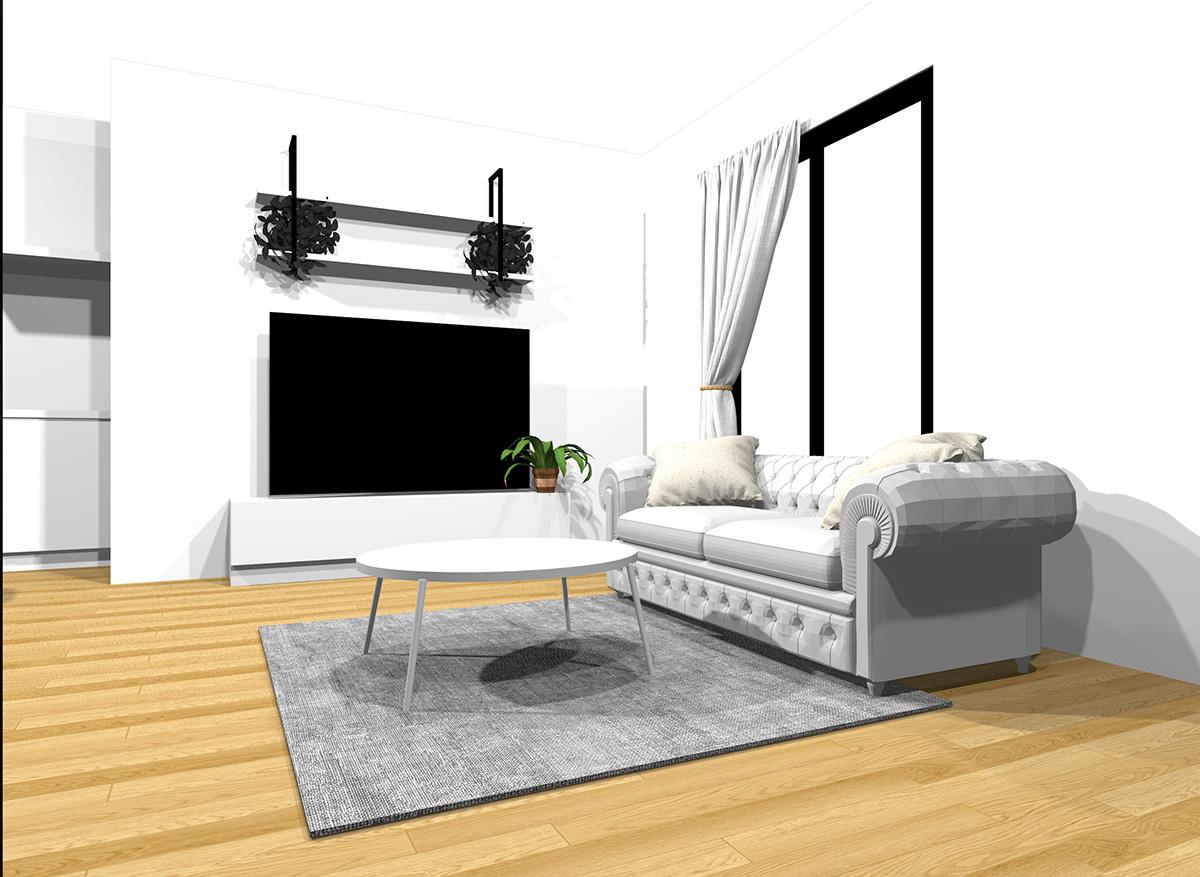 ホワイトの家具とナチュラルブラウンの床のインテリア