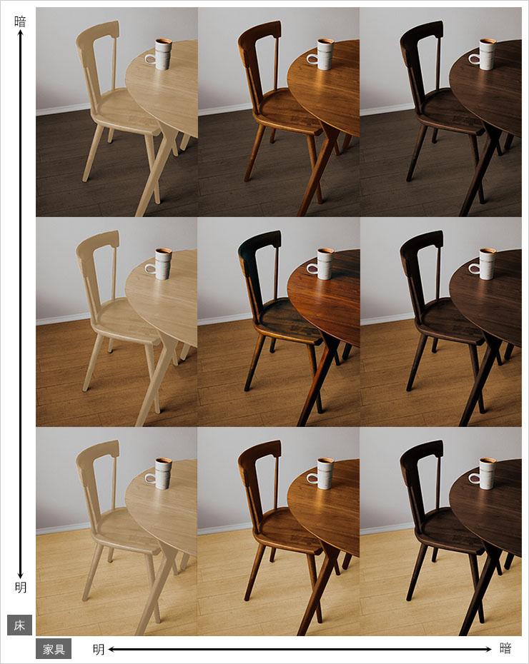 床の色と家具の色を変えたインテリアの配色パターン9種類