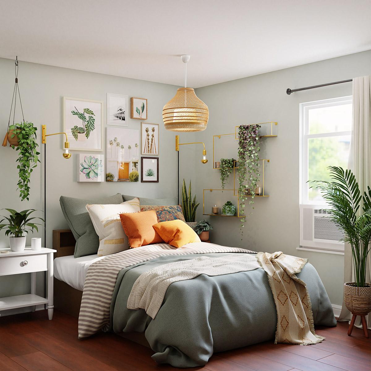 薄いグリーンでまとめた寝室
