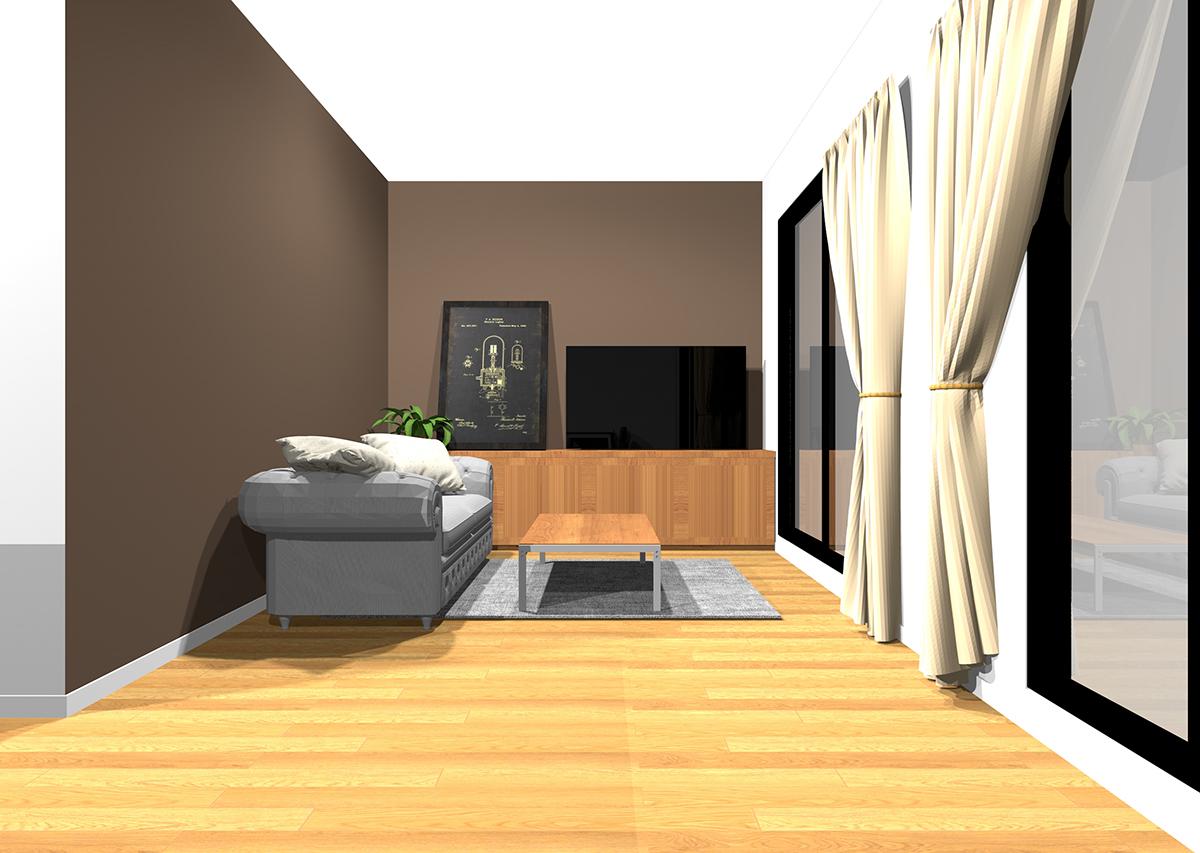 茶色の壁紙のリビング