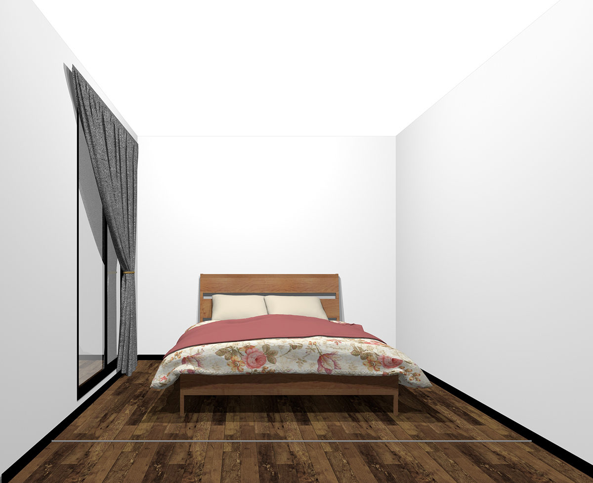 壁の中心にダブルベッド