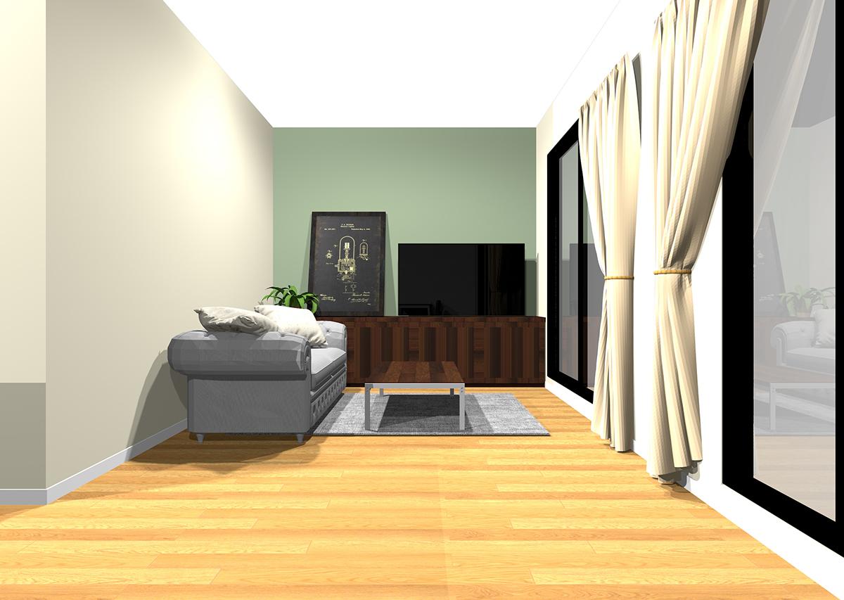 重厚感とクラシカルな雰囲気を感じるリビングの壁紙と家具の組み合わせ