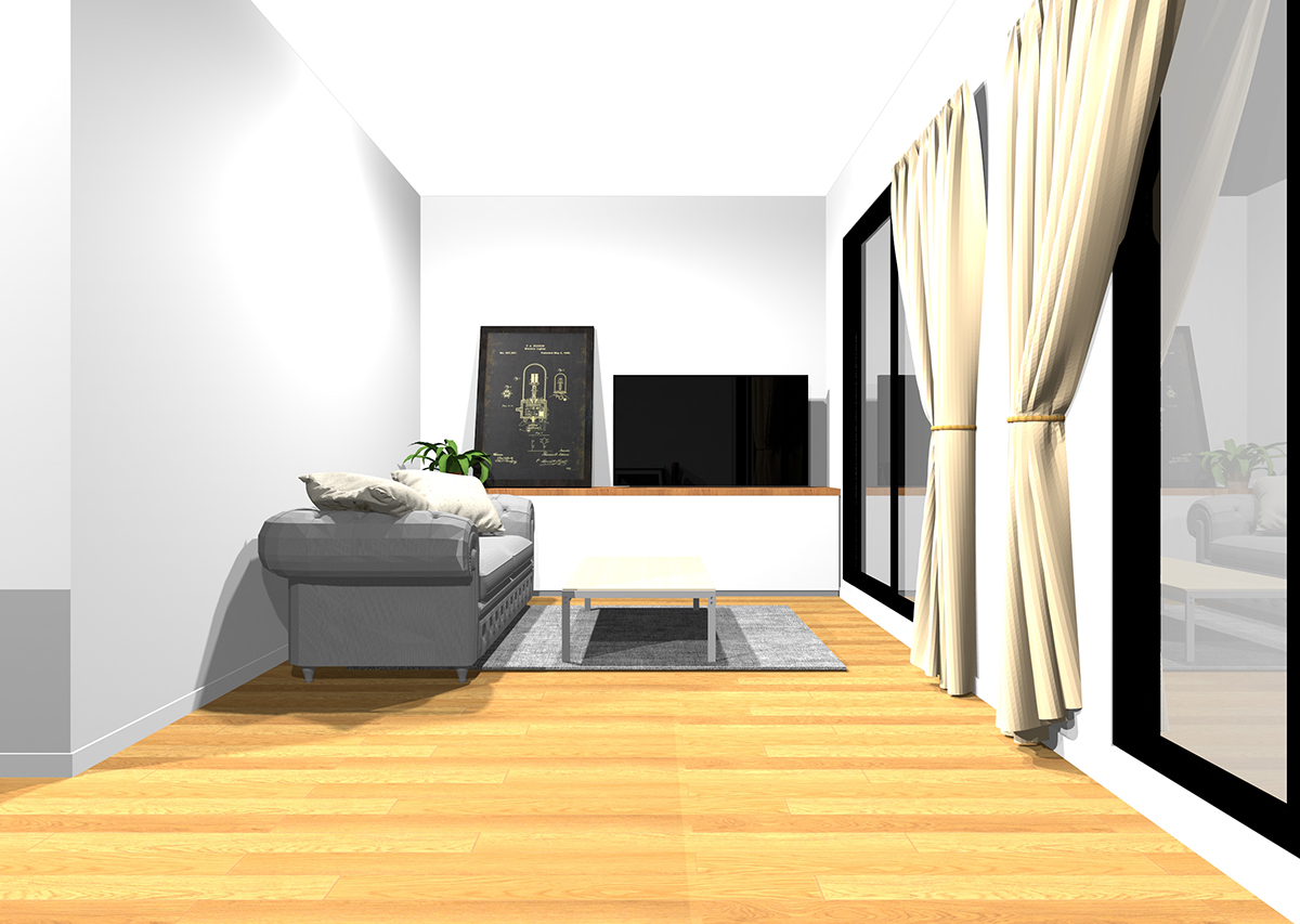広さと清潔感のあるリビングの壁紙と家具の組み合わせ