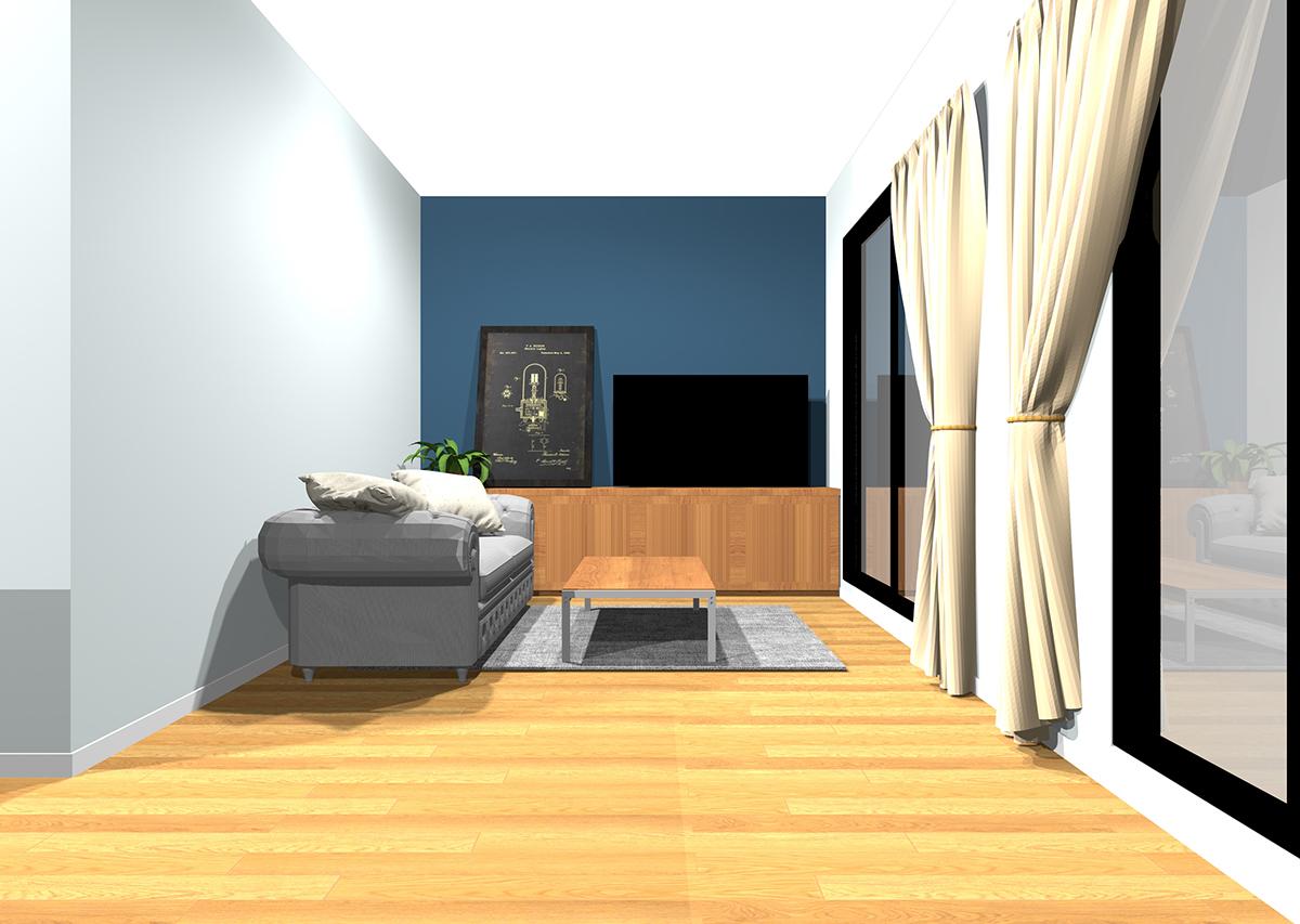 冷たさのある白の壁紙(3面)と冷たさのある濃い色のアクセントクロスの組み合わせ