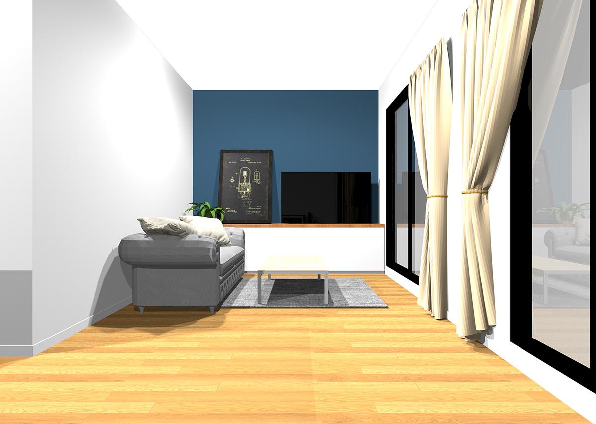 広さとスッキリ感のあるリビングの壁紙と家具の組み合わせ