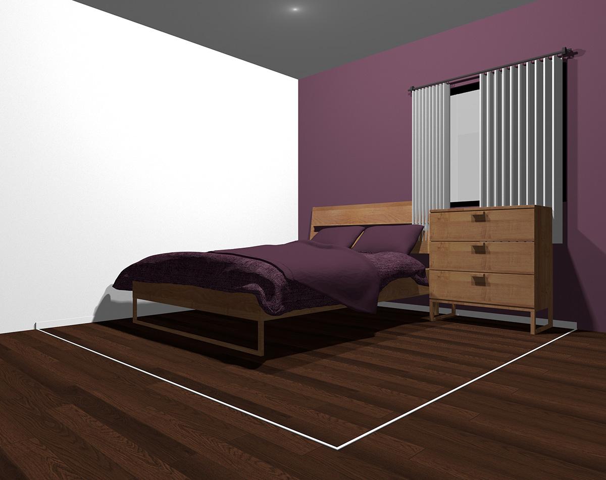暗い紫でまとめた4畳半の狭い寝室