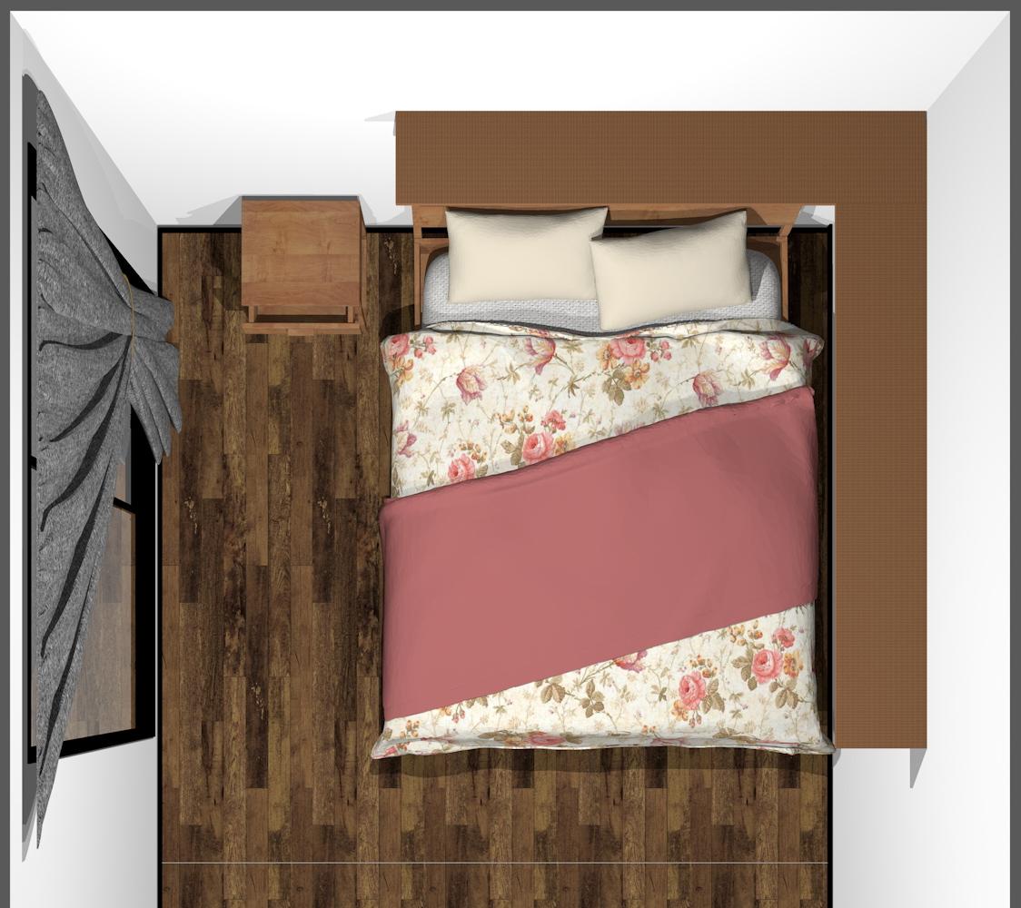 ベッドの頭上にウォールシェルフ(上から)