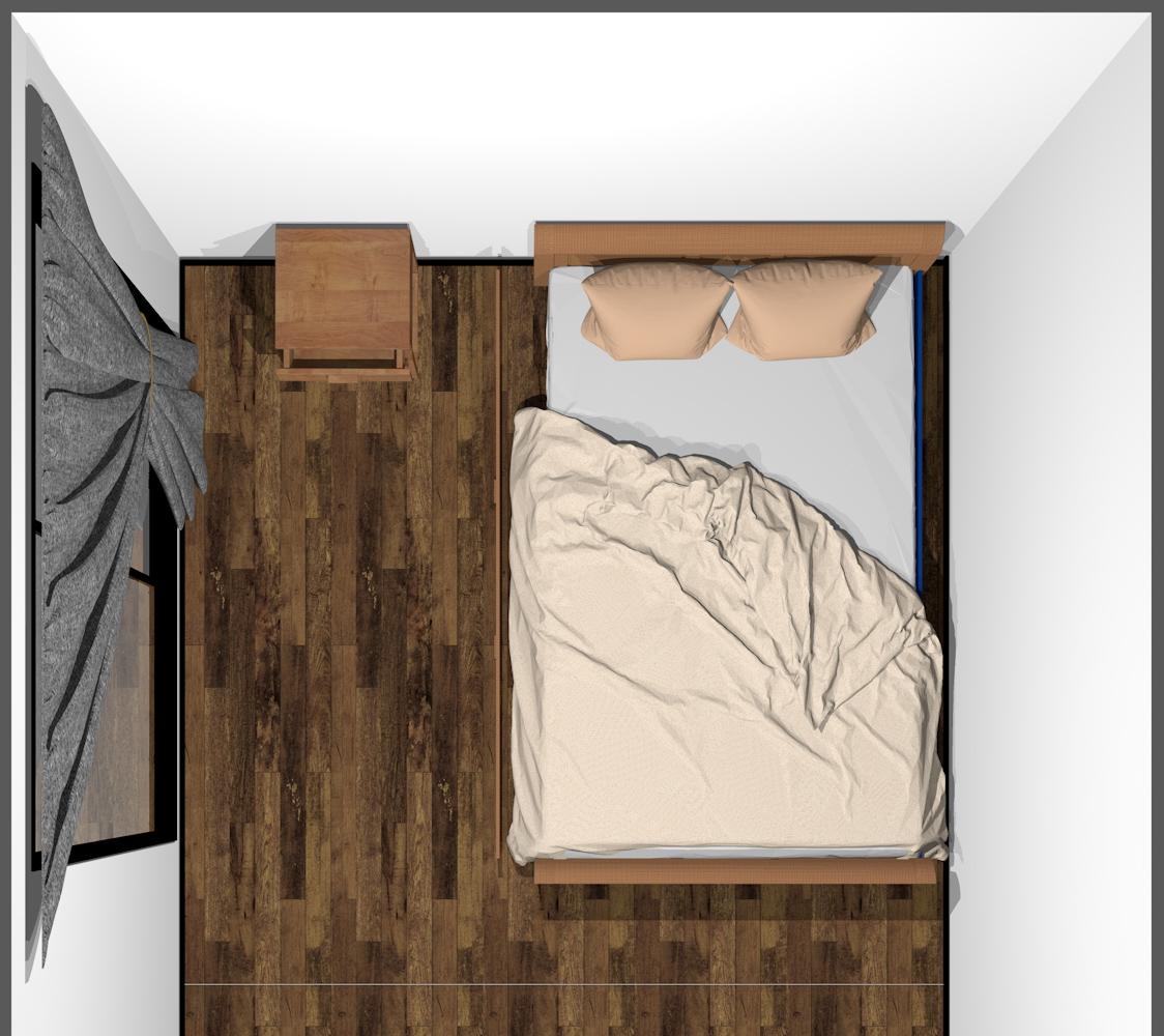 ベッドの下に引き出しがついたベッド(上から)
