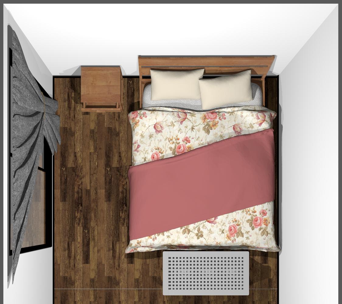 ベッドの足元に収納家具(上から)