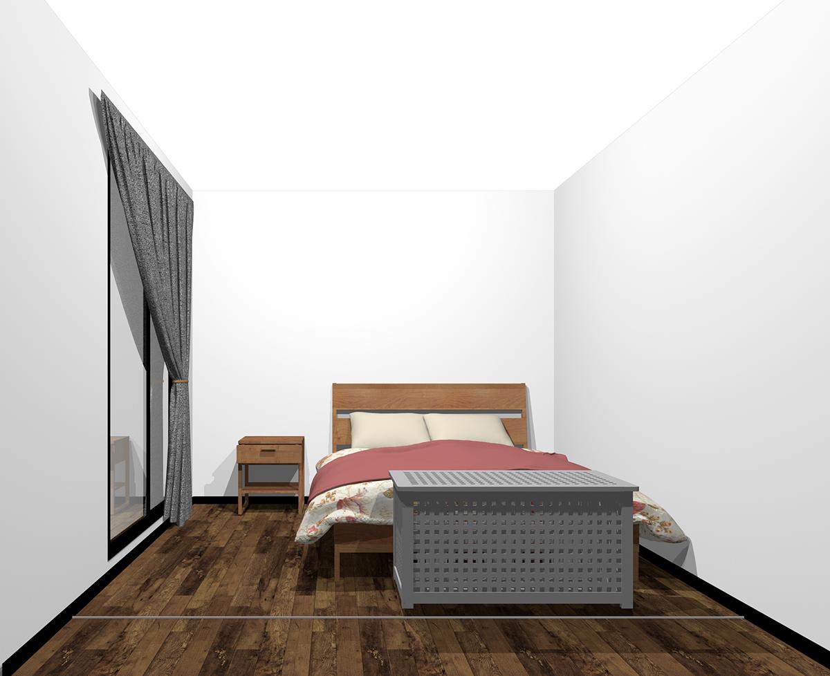 ベッドの足元に収納家具(前から)