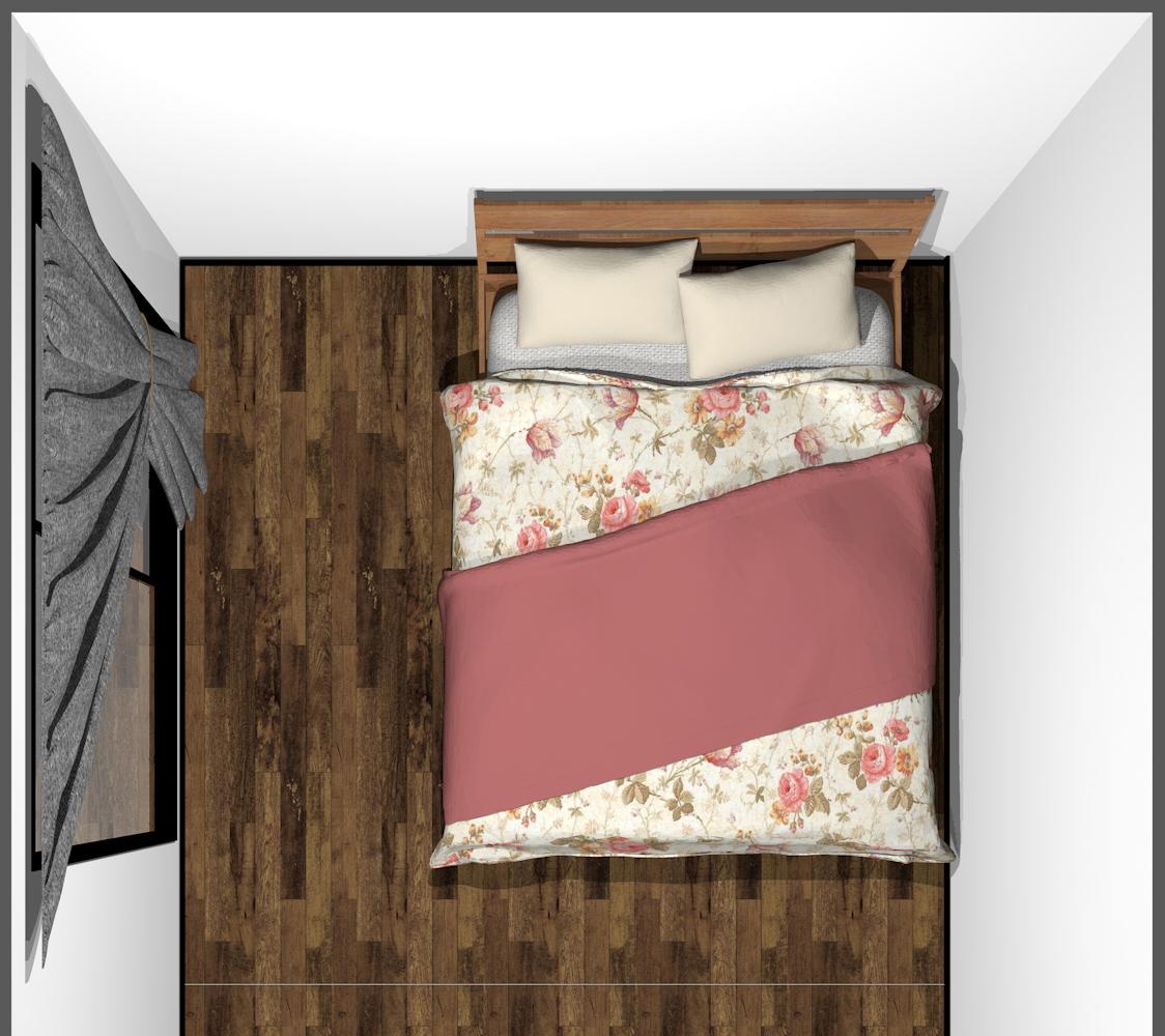 4畳半の寝室にダブルベッド(上から)