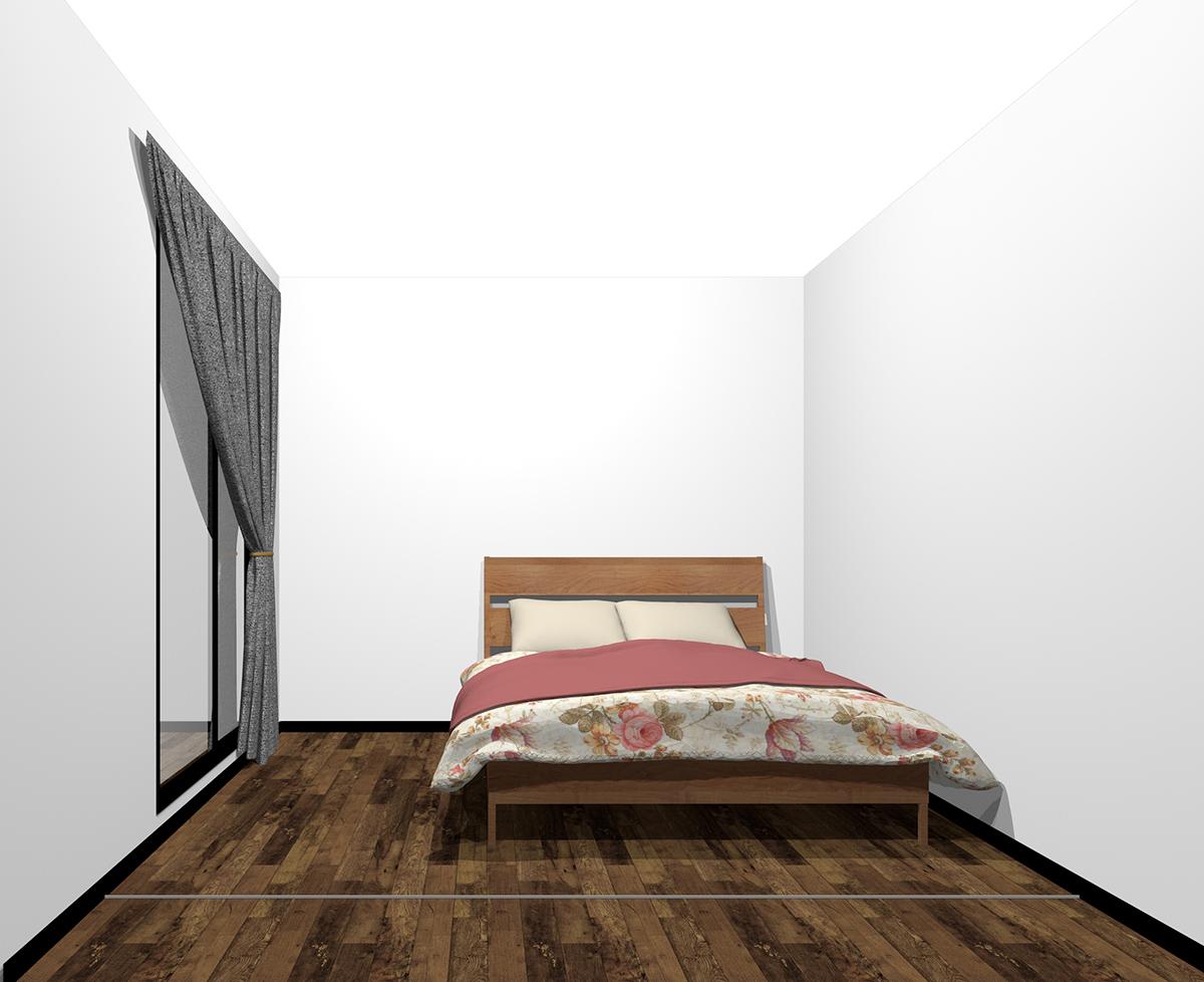 4畳半の寝室にダブルベッド(前から)