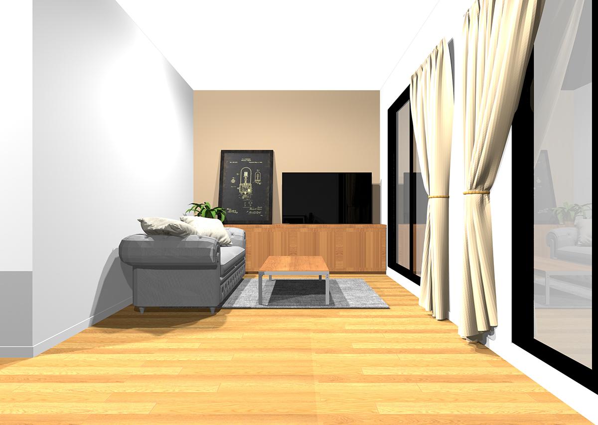 安心感とメリハリを感じるリビングの壁紙と家具の組み合わせ