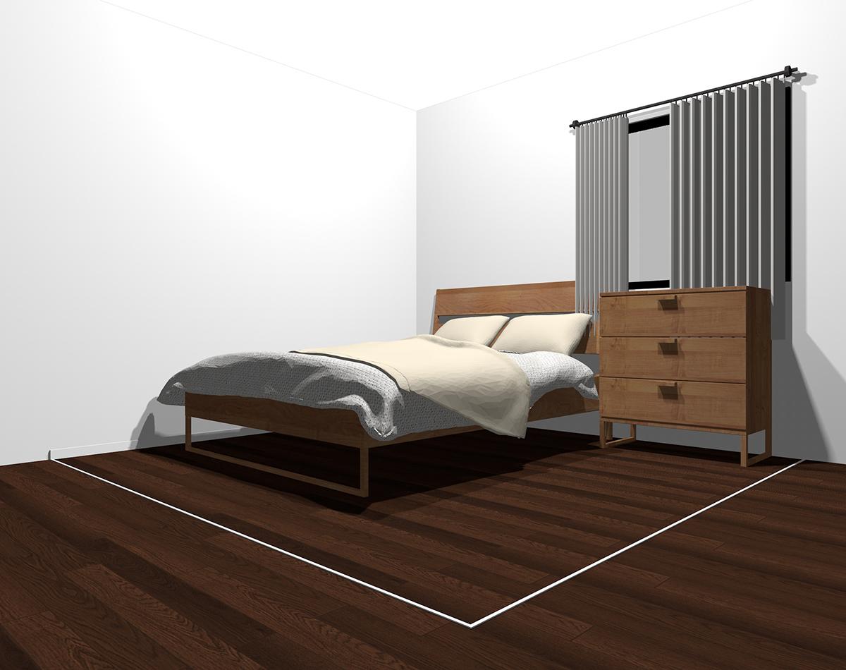ベージュ×薄いグレーでまとめた4畳半の寝室