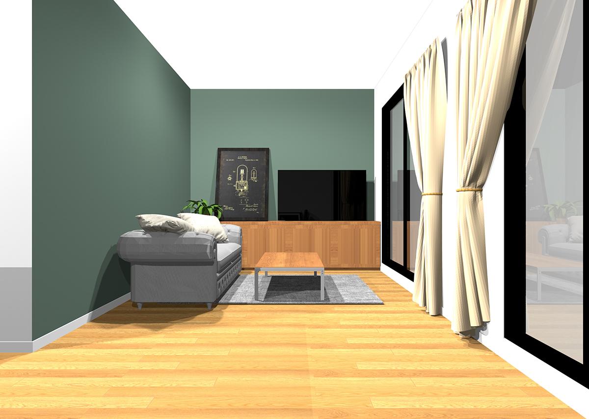 緑の壁紙のリビング