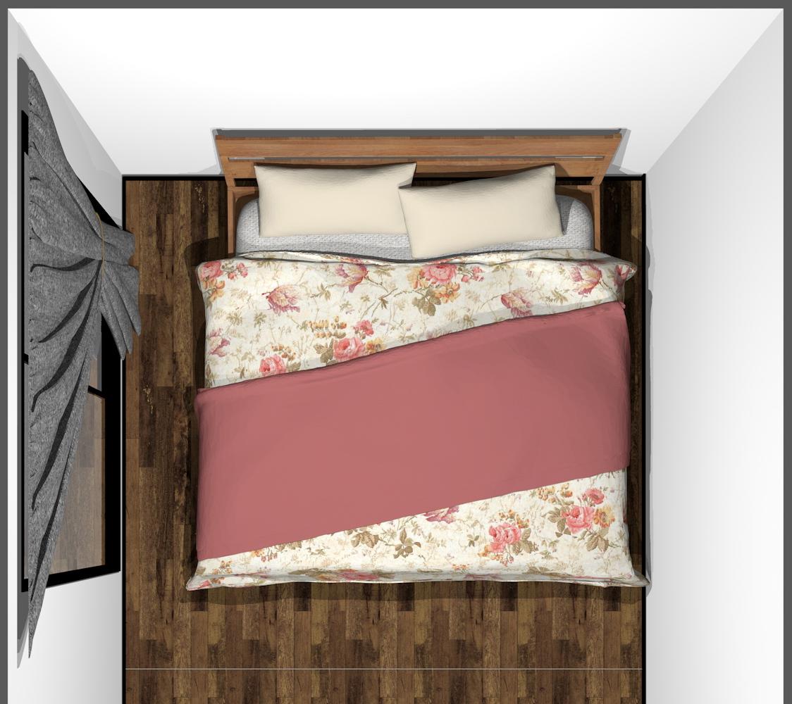 4畳半の寝室にキングベッド(上から)