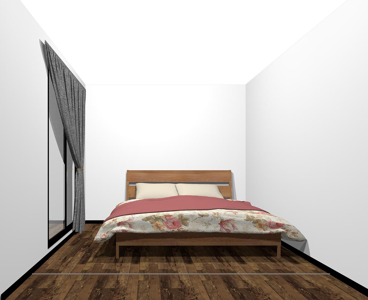 4畳半の寝室にクイーンベッド(前から)