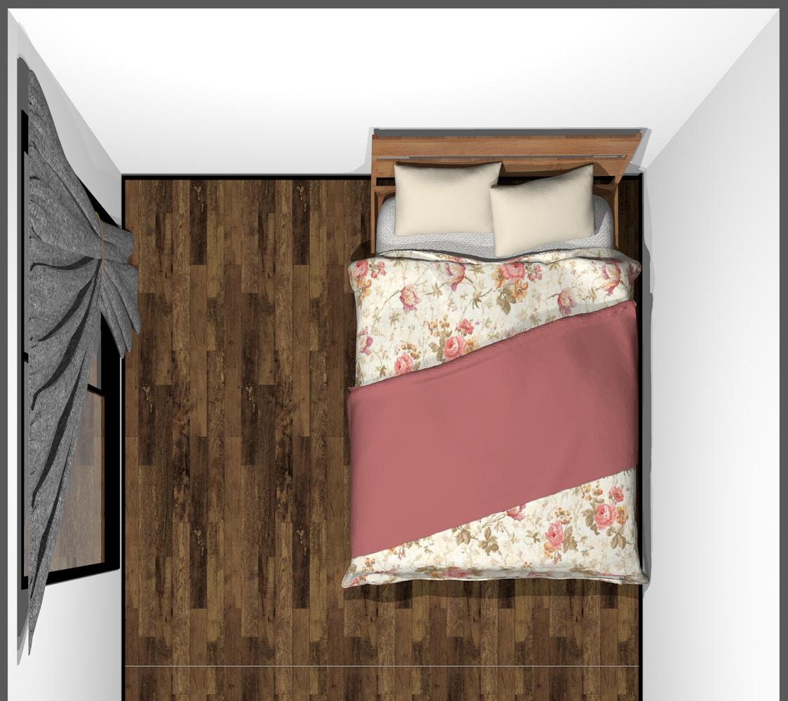 4畳半の寝室にセミダブルベッド(上から)