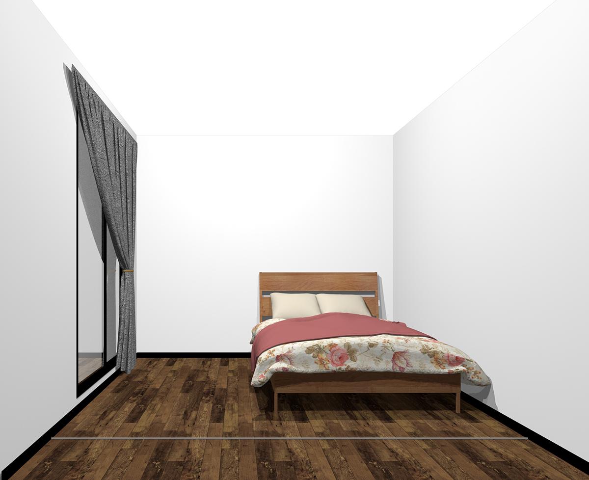 4畳半の寝室にセミダブルベッド(前から)