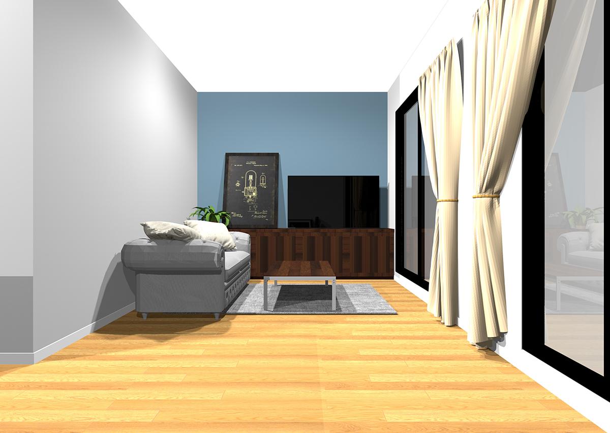 程よい開放感とシックな印象のリビングの壁紙と家具の組み合わせ