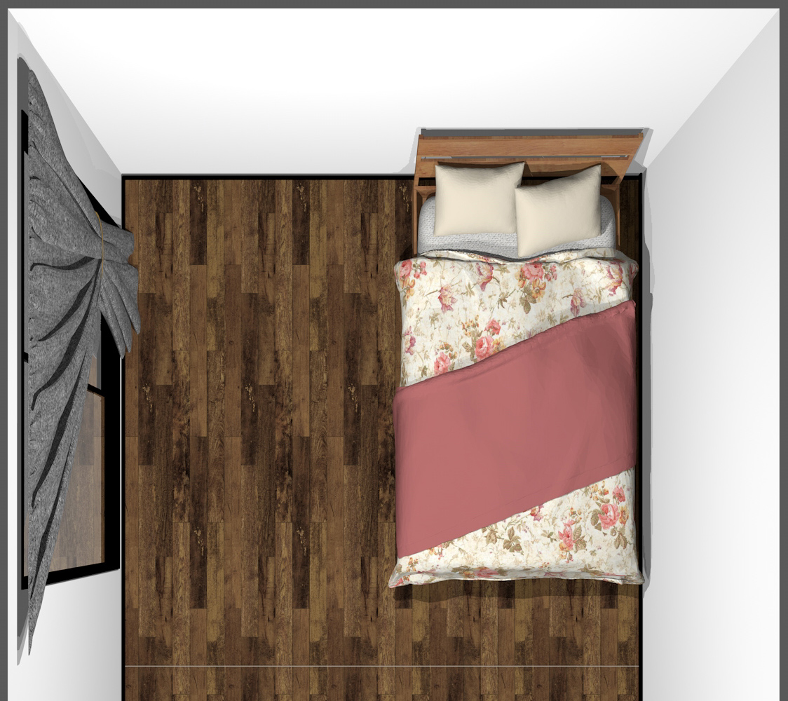 4畳半の寝室にシングルベッド(上から)