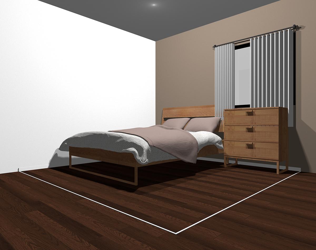 スモーキーカラーでまとめた4畳半の狭い寝室