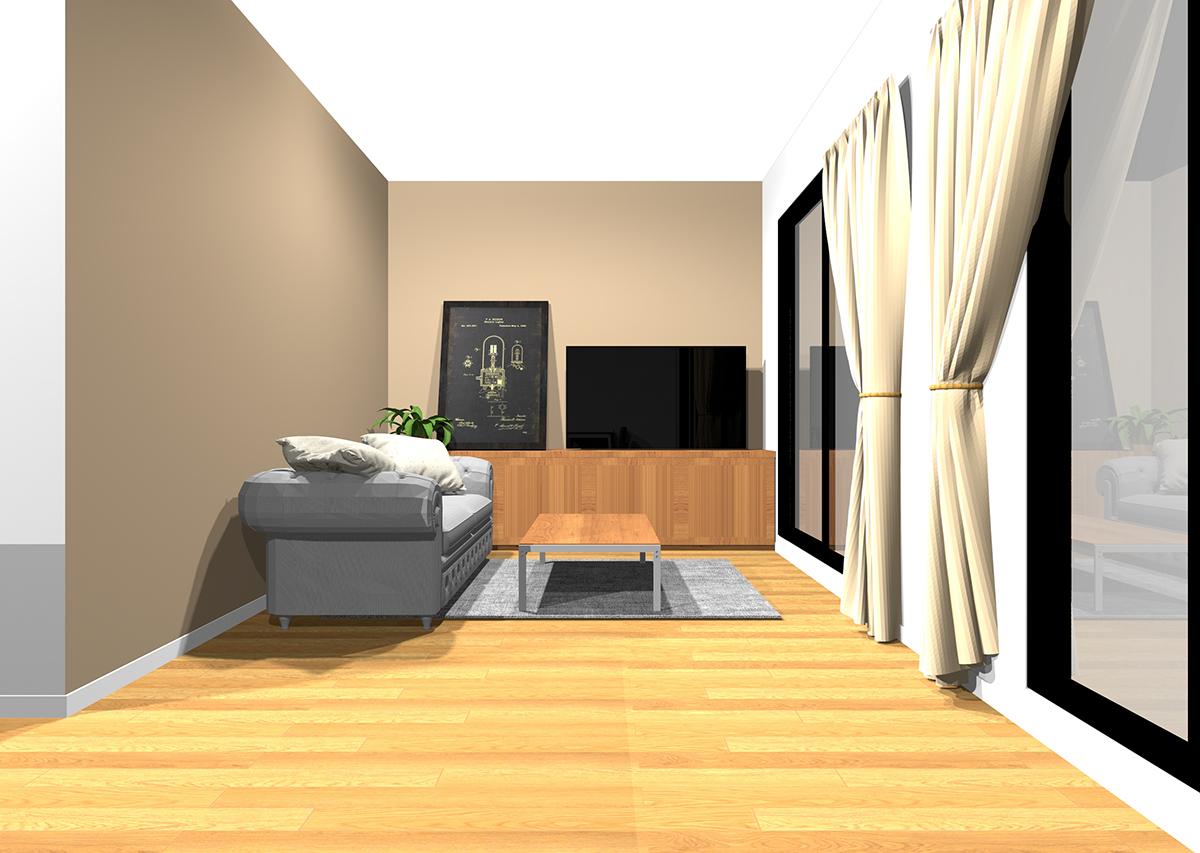 彩度が低い茶色の壁紙のリビング