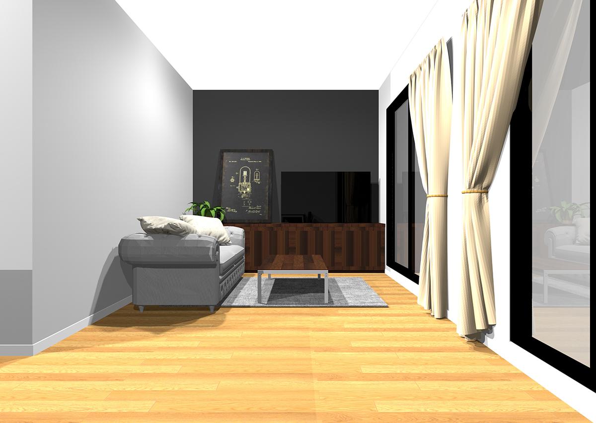 非日常的で大人のリビングの壁紙と家具の組み合わせ