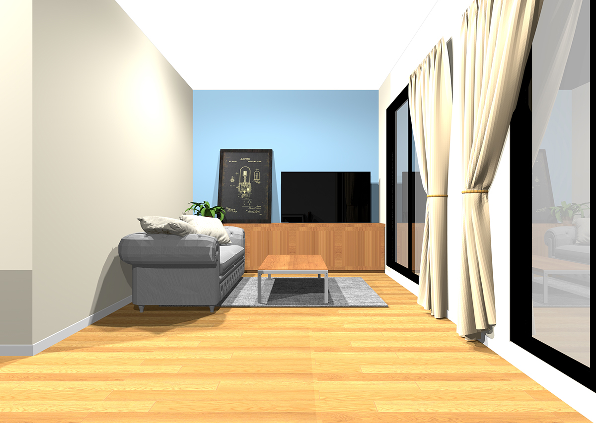 温かみのある白の壁紙3面と冷たい色のアクセントクロスの組み合わせ