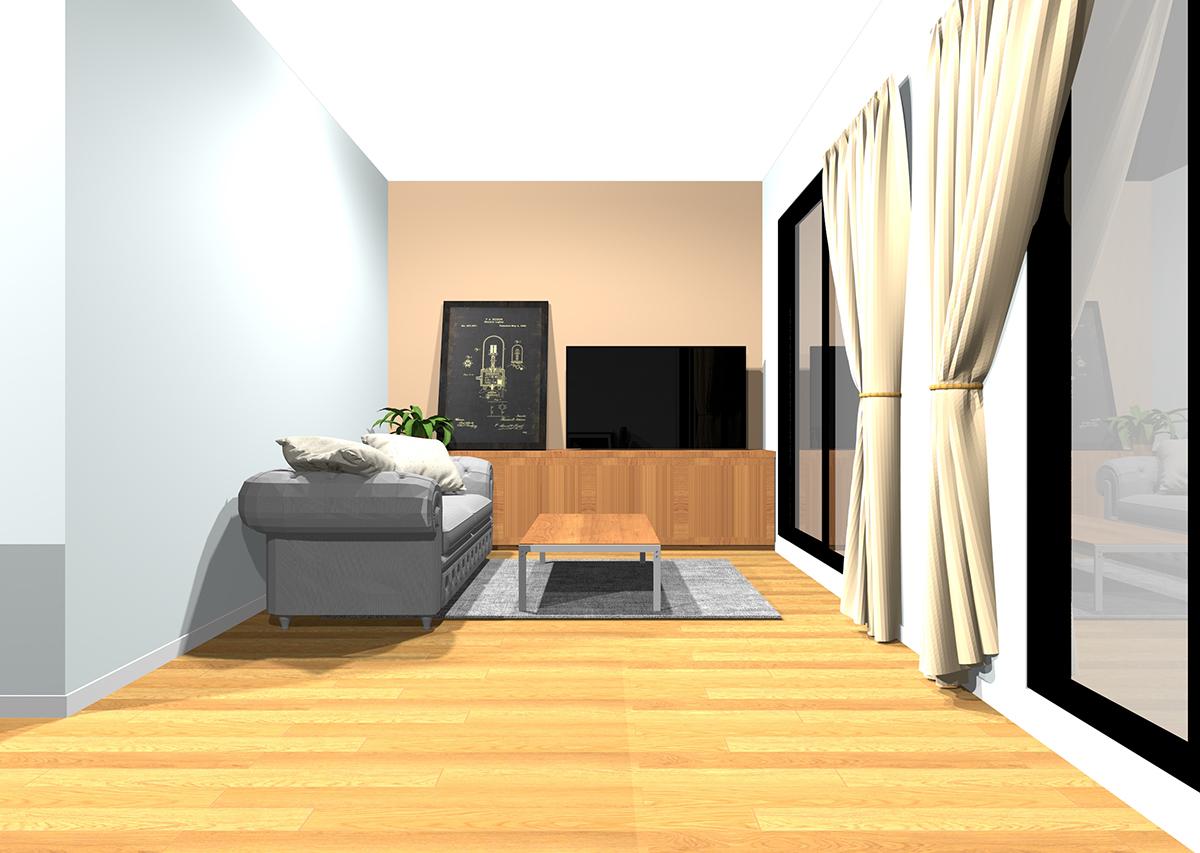 冷たい白の壁紙3面と温かい色のアクセントクロスの組み合わせ