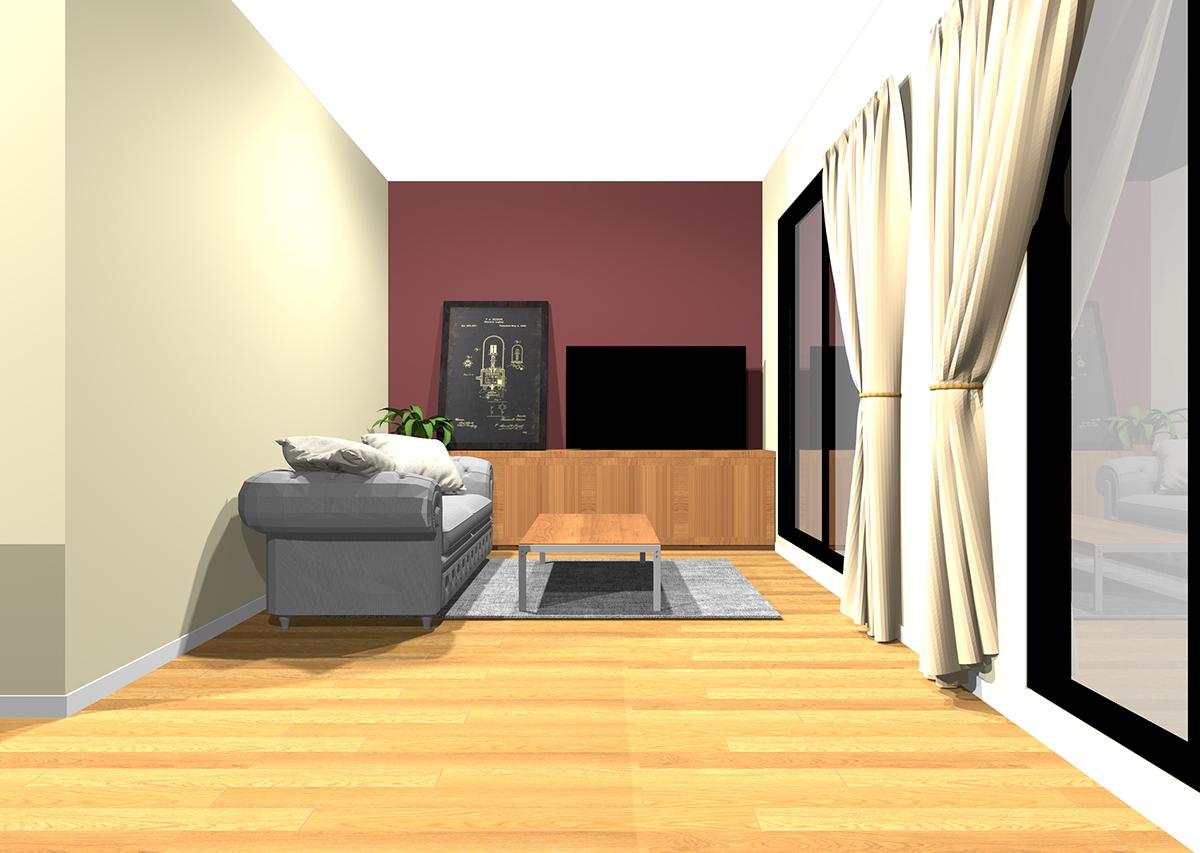 温かみのある白の壁紙3面と温かみのある濃い色のアクセントクロスの組み合わせ