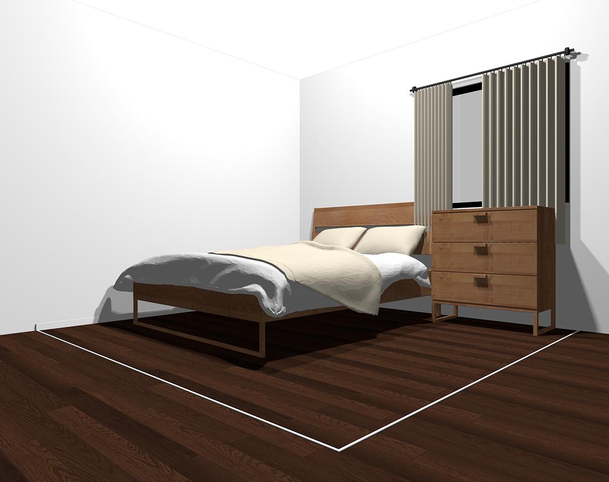 白っぽい色でまとめた4畳半の寝室