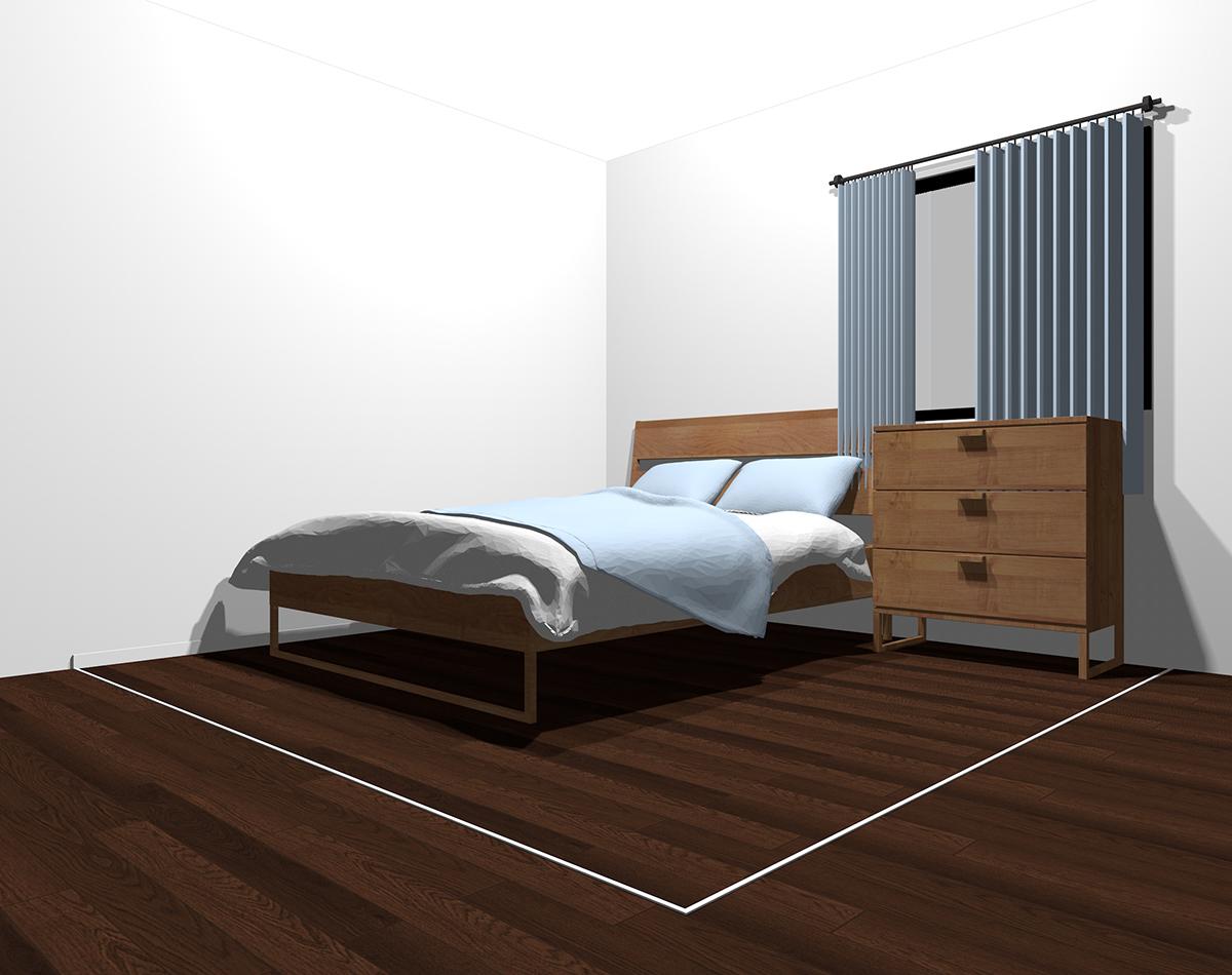 白っぽい色×寒色でまとめた4畳半の寝室