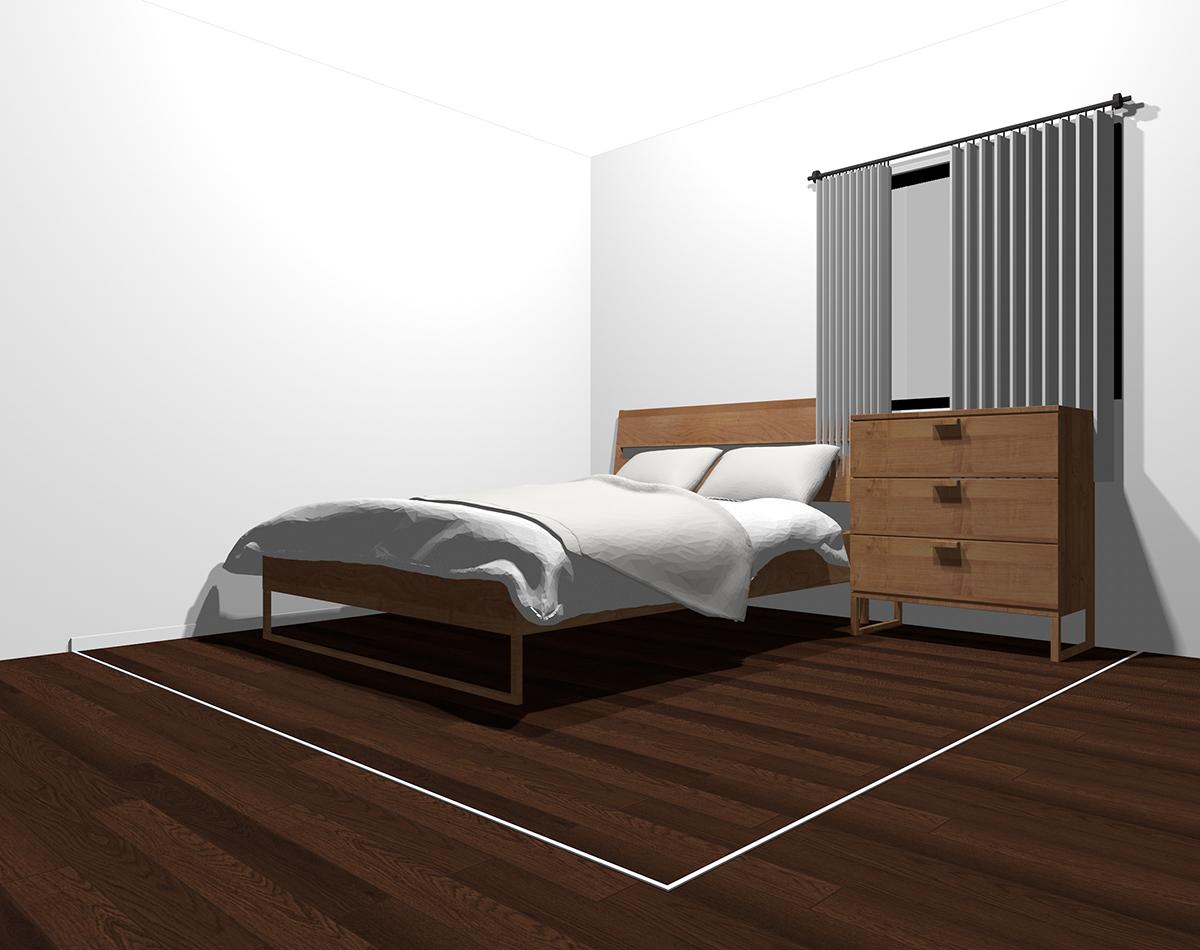 白×グレーでまとめた4畳半の寝室