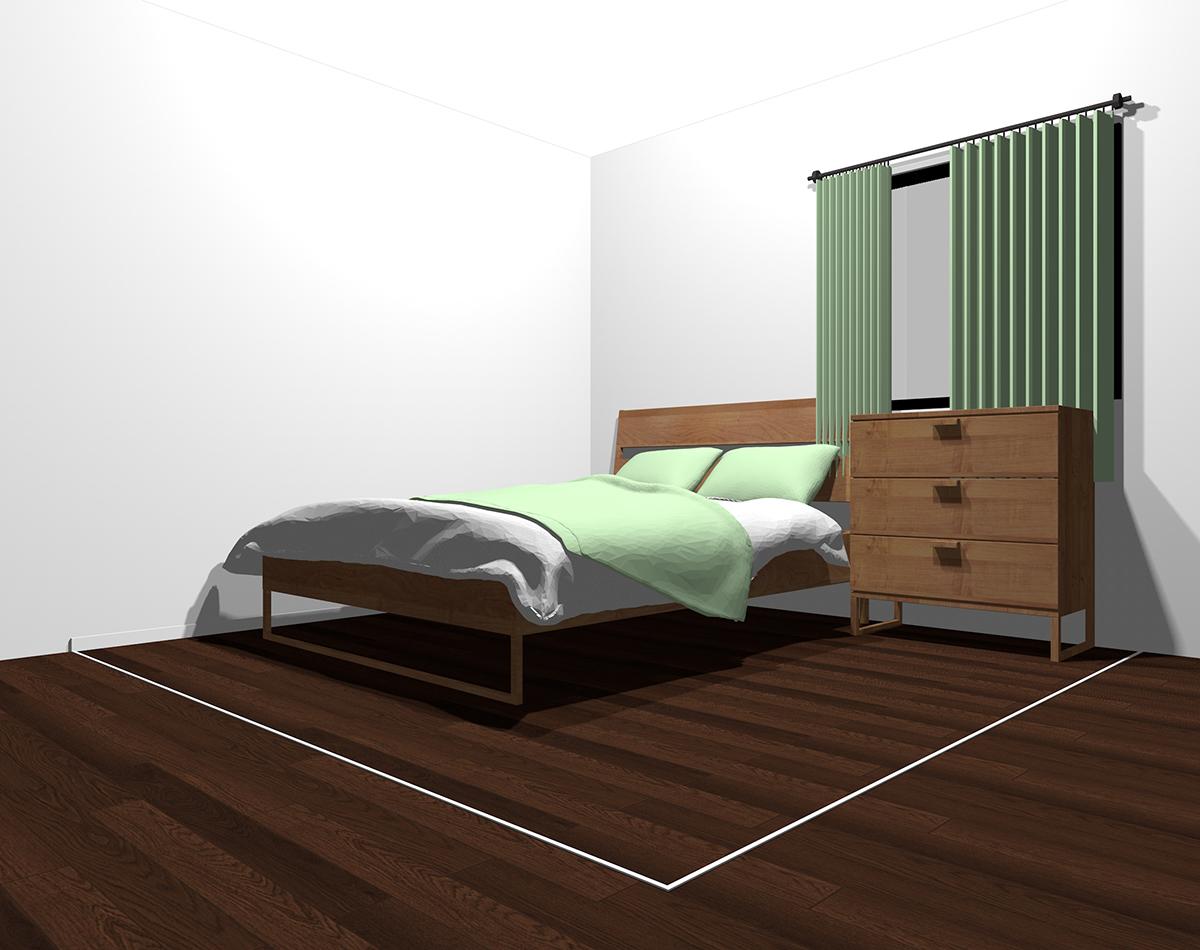 白っぽい色×薄いグリーンでまとめた4畳半の寝室