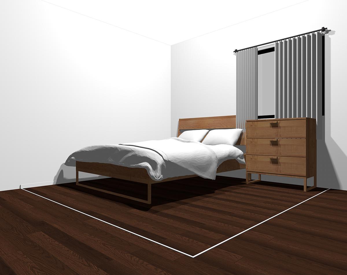 ホワイトだけでまとめた4畳半の寝室