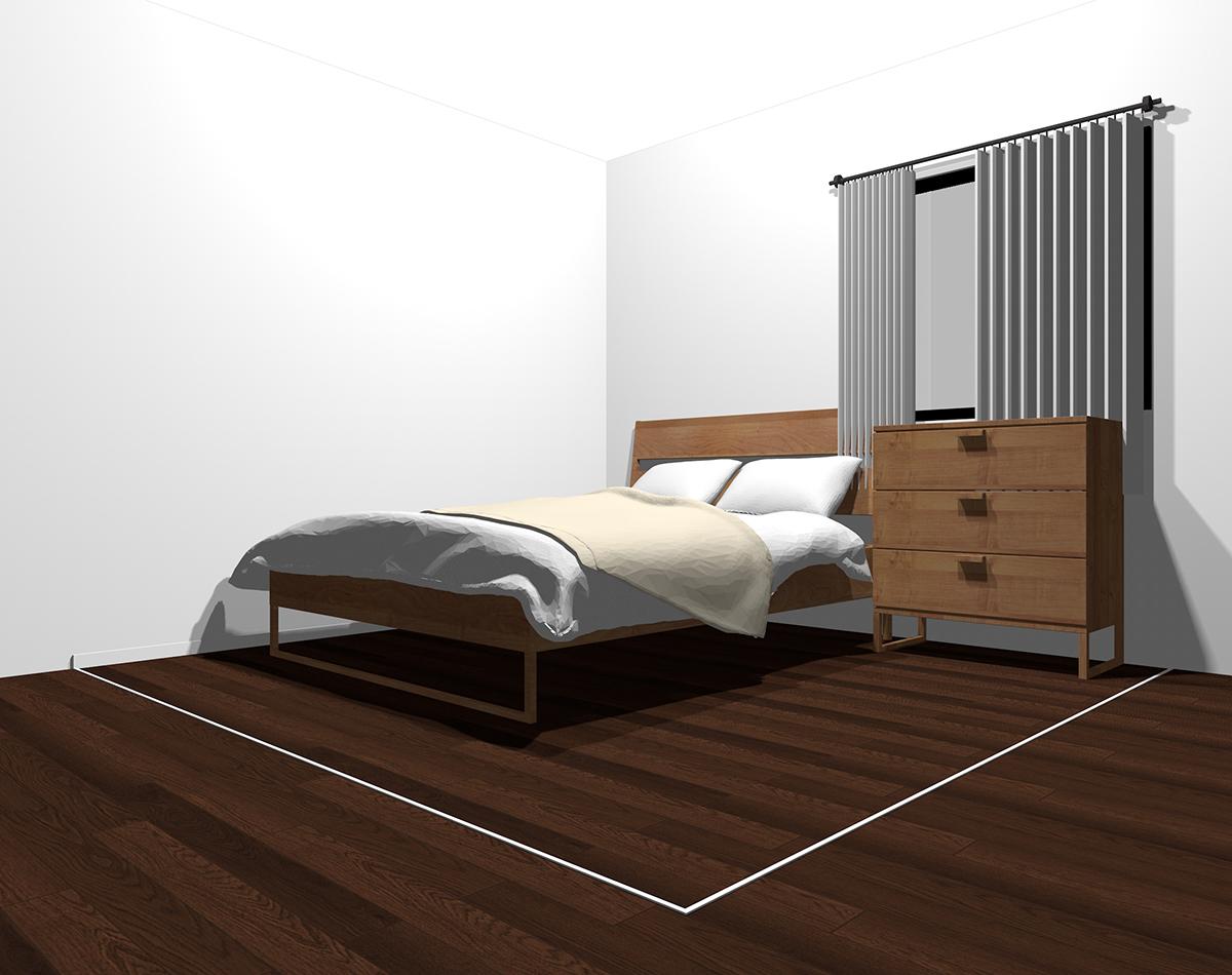 ホワイト×ベージュでまとめた4畳半の寝室