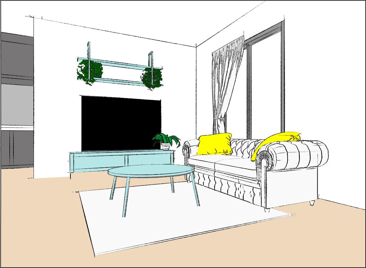 ベージュ:床の色 水色:家具の色