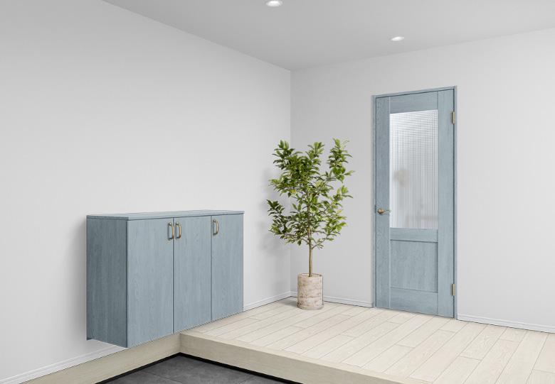 パナソニックのくすみカラーのドアと玄関収納家具